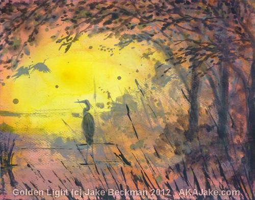 Golden Light by AZ expressionist painter jake beckman a crane stands in a marsh watching the sun rise