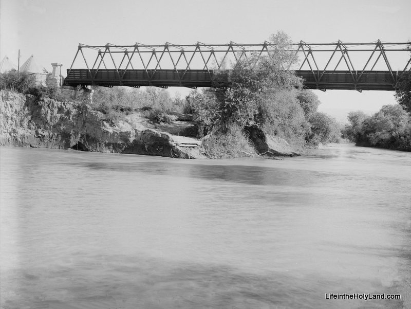 The Jordan River as it flows underneath the old Allenby Bridge. This picture was taken around 1920.