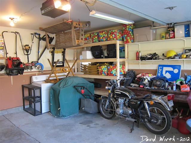 garage shelf, hang from wall, ceiling, storage, space, inch