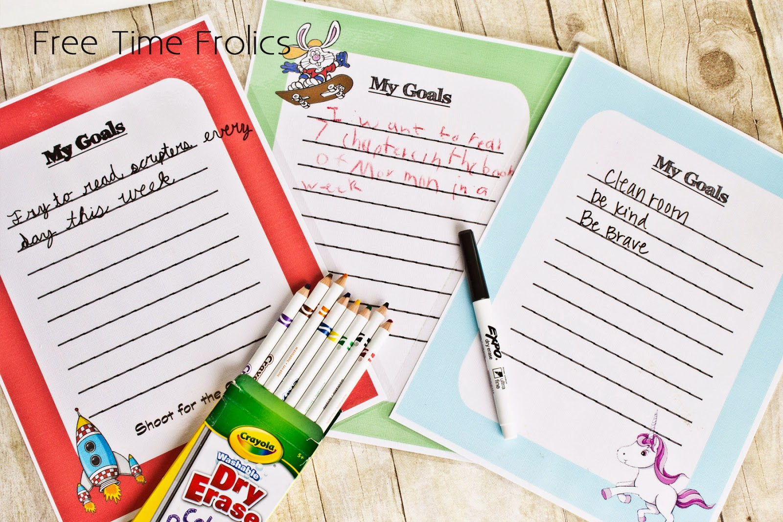 goal setting pages for kids Free Printable www.freetimefrolics.com