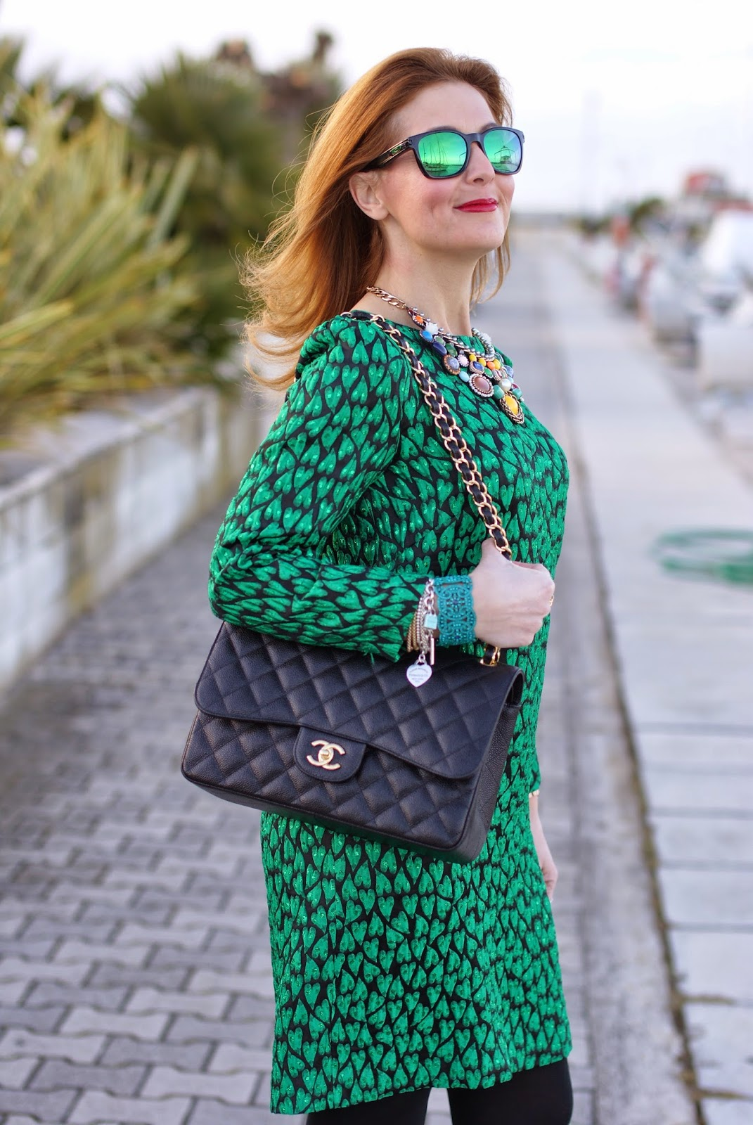 Mauro Grifoni tubino verde, Chanel 2.55 classic flap bag, Dolce & Gabbana Coco ankle boots, Fashion and Cookies fashion blog, fashion blogger italiana