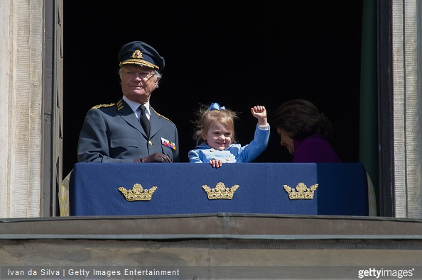 King Carl Gustaf XVI and Princess Estelle are seen during the celebration of the King's birthday at Palace Royale on April 30, 2015 in Stockholm, Sweden