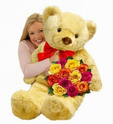 αρκούδος και λουλούδια ανθέμιο