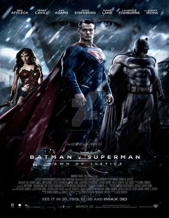 Poster Of Batman v Superman Dawn of Justice 2016 Dual Audio  300MB  720p [Hindi - English]  - EXTENDED HEVC Free Download Watch Online Worldfree4u