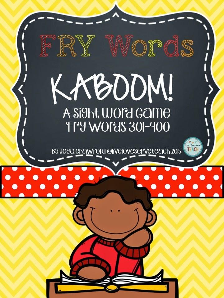 https://www.teacherspayteachers.com/Product/FRY-Words-301-400-KABOOM-Game-912614