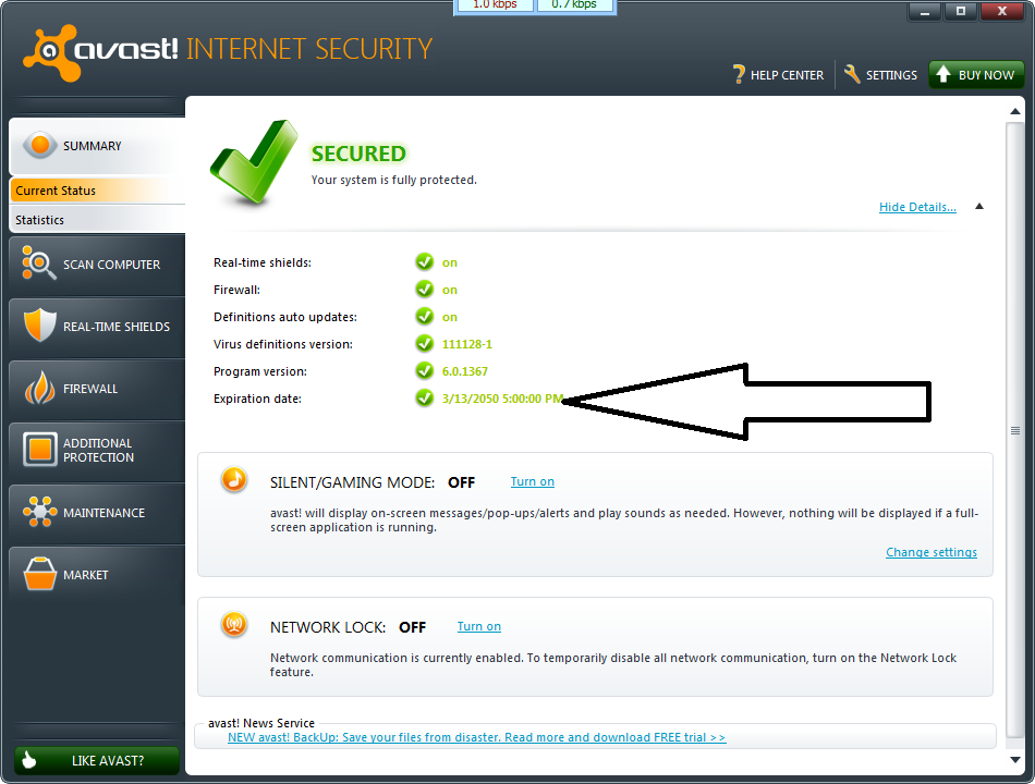 Avast internet security Expiration date 13 maret 2050 DATABASE: 4