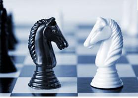 Cavalo negro contra cavalo branco
