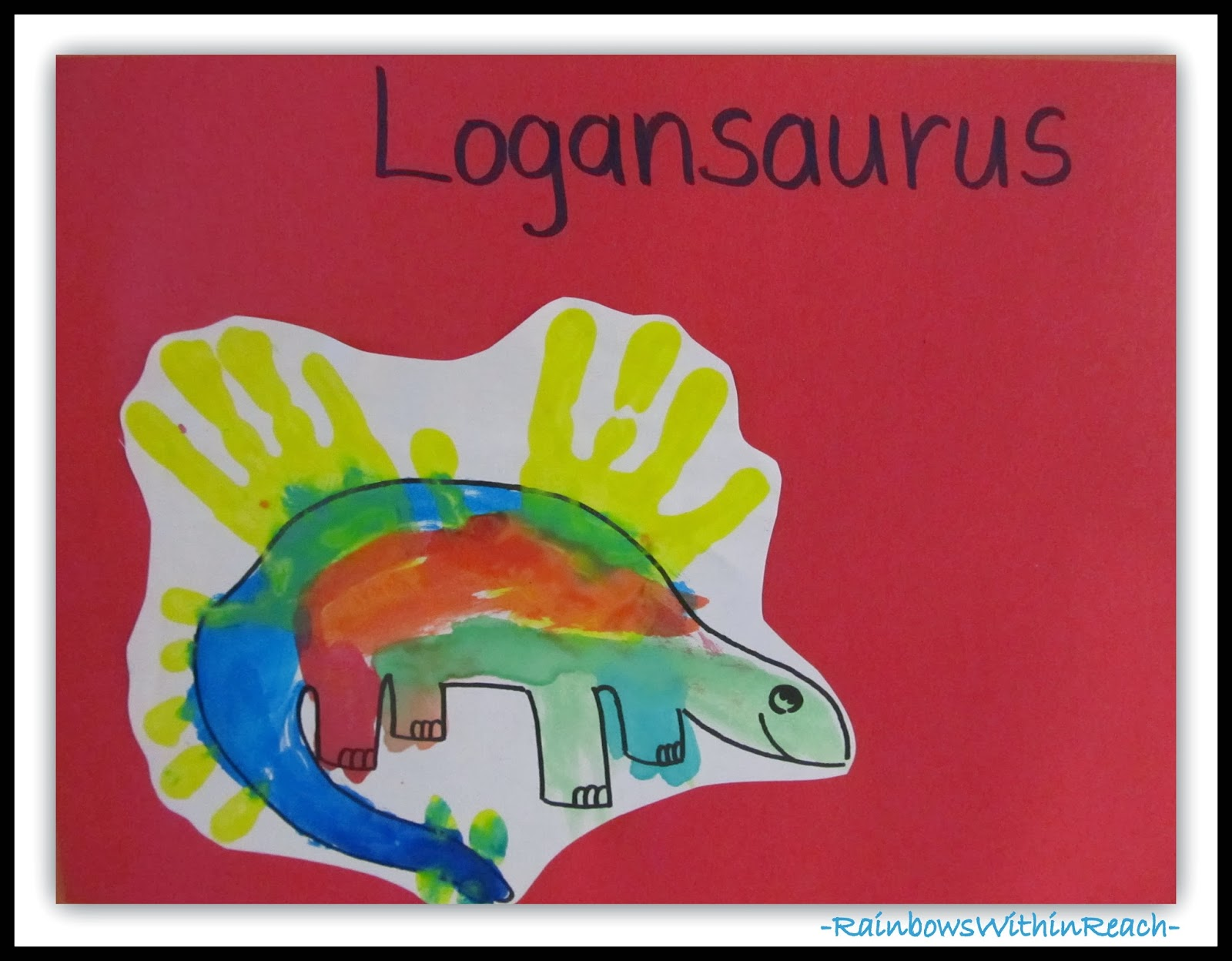 Dinosaur Handprint Painting in Preschool via RainbowsWithinReach