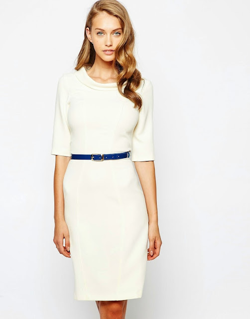 closet blue belted white dress