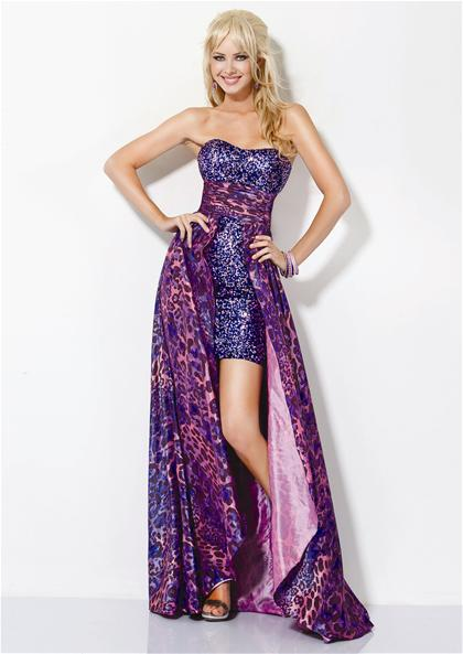 print high-low prom dresses