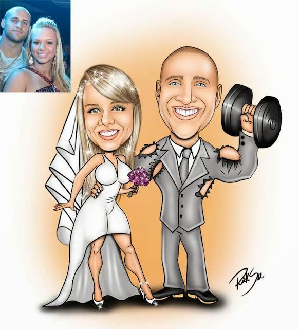 musculação e noiva com vestido curto