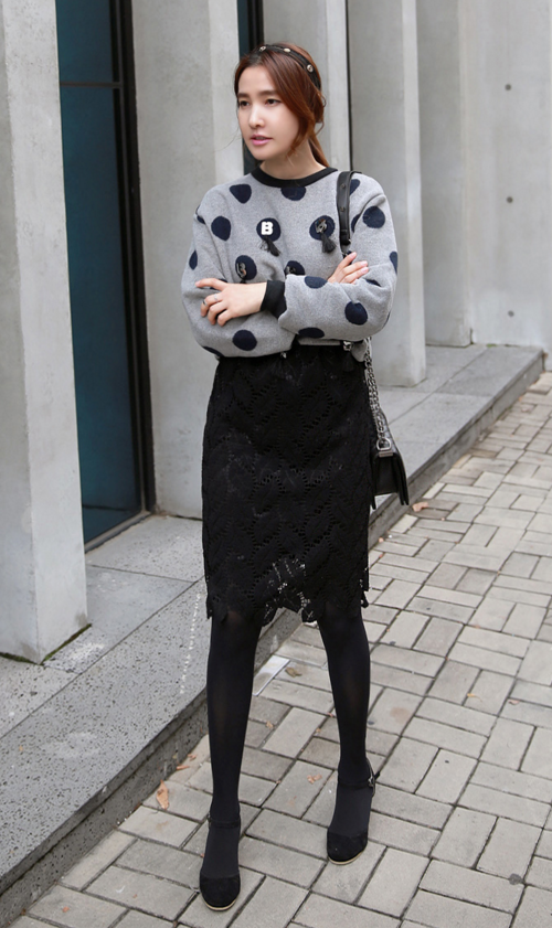 Dotted Knit Sweater with Embellishments