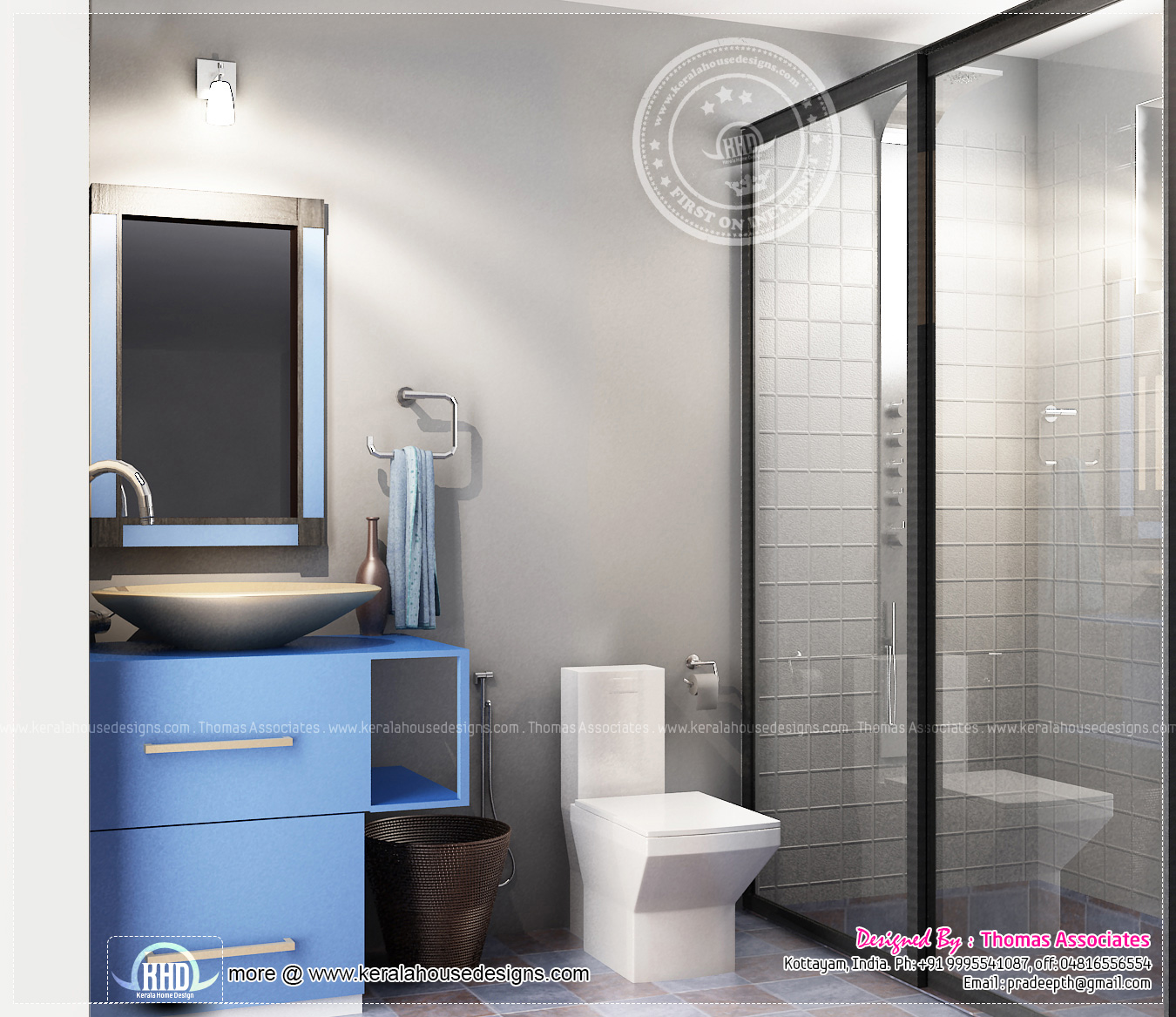 Beautiful blue toned interior designs home kerala plans for New model bathroom design