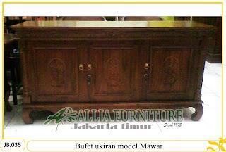 Bufet tipe ukiran kayu jati model Mawar