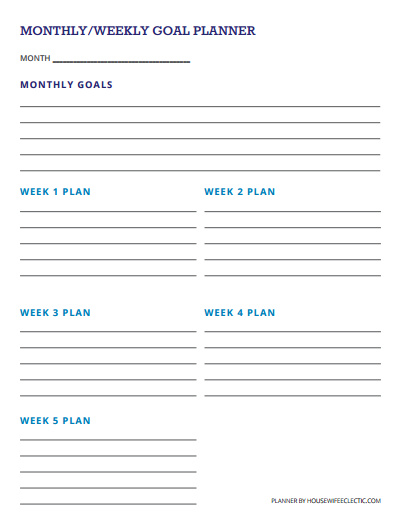Candid image throughout monthly goal tracker printable