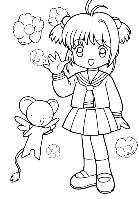 happy sakura coloring pages - Cardcaptor Sakura Coloring Pages