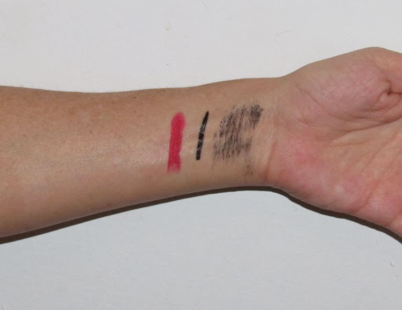 Swatches of Kat Von D's The Star Studded Look Makeup including a Lipstick, Eyeliner and Mascara