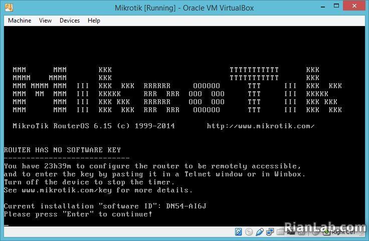 Tampilan Mikrotik di Virtualbox