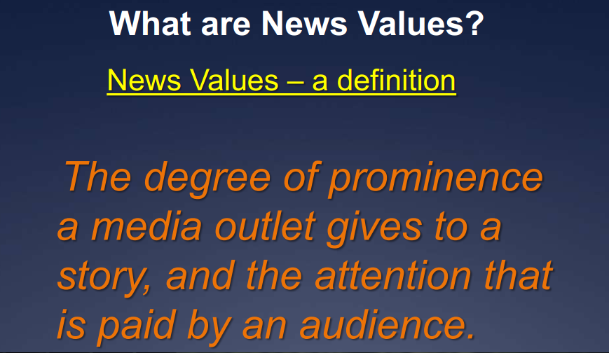 news values News values conflict currency prominence proximity closer to home bigger the from comm 326 at clemson.
