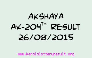 Akshaya AK 204 Lottery Result 26-8-2015