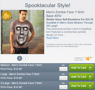 Zombie Face T-shirt for Men from Publishers Clearing House