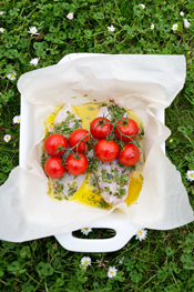 baked fish with fresh herbs, tomatoes on the vine and white wine