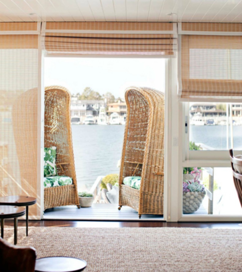 Coastal wicker wing back chairs