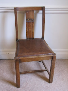 1920s/1930s vintage Deco oak dining chair in need of recovering and a little TLC.