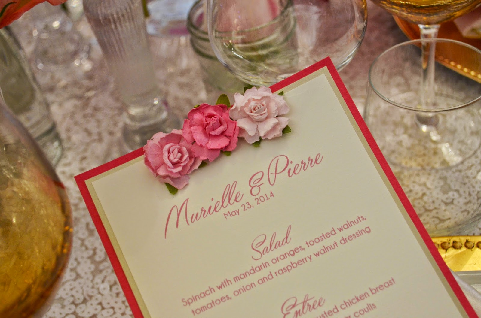 Menu with handmade paper flowers