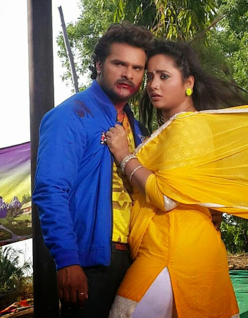 Khesari Lal Yadav & Rani Chatterjee Rani on Set Jaanam