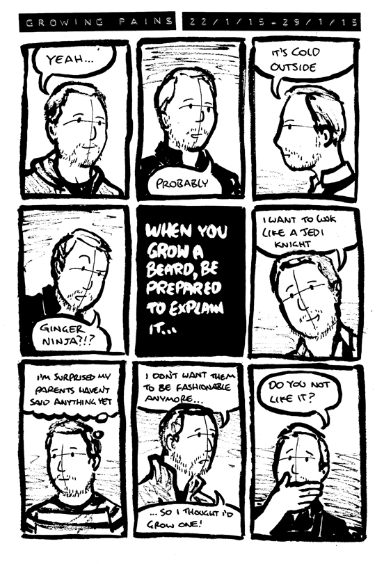 Comic of Alex's various responses to things people say about him growing a beard