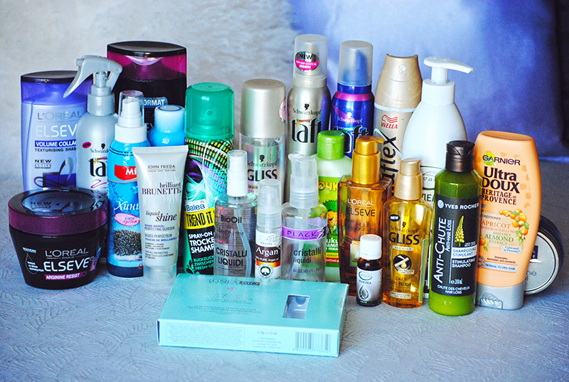 A picture of all my hair products