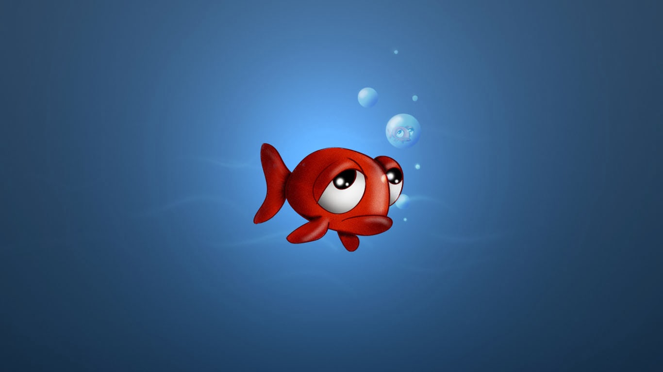 Sad Love Wallpaper In cartoon : Sad Red Fish cartoon Wallpaper ~ Free cartoon Wallpapers