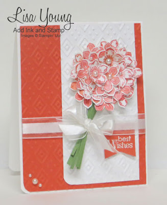 Handmade Bridal Shower card or Wedding card in coral. Uses Stampin' Up! Petite Petal stamp set and punch. Bouquet of  stamped and punched flowers on an embossed background. Handmade by Lisa Young, Add Ink and Stamp