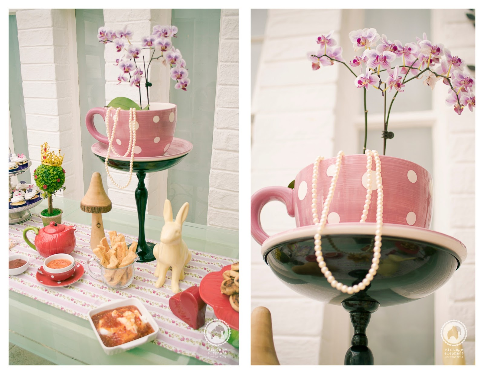 vintage elephant photography alice in wonderland kitchen tea