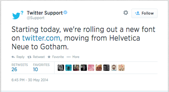 Twitter changes its font from Helvetia to 'Gotham'