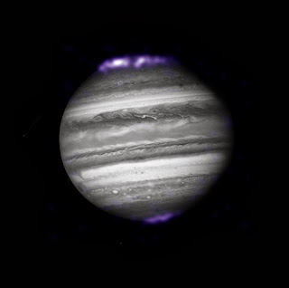 Composite image of Jupiter by the Hubble Space Telescope and Chandra X-ray observatory