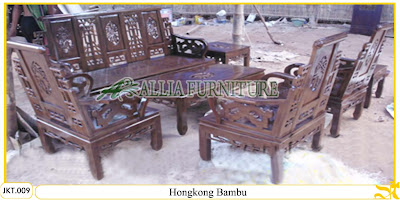 Set Kursi Tamu Ukiran Kayu Jati Hongkong Bambu