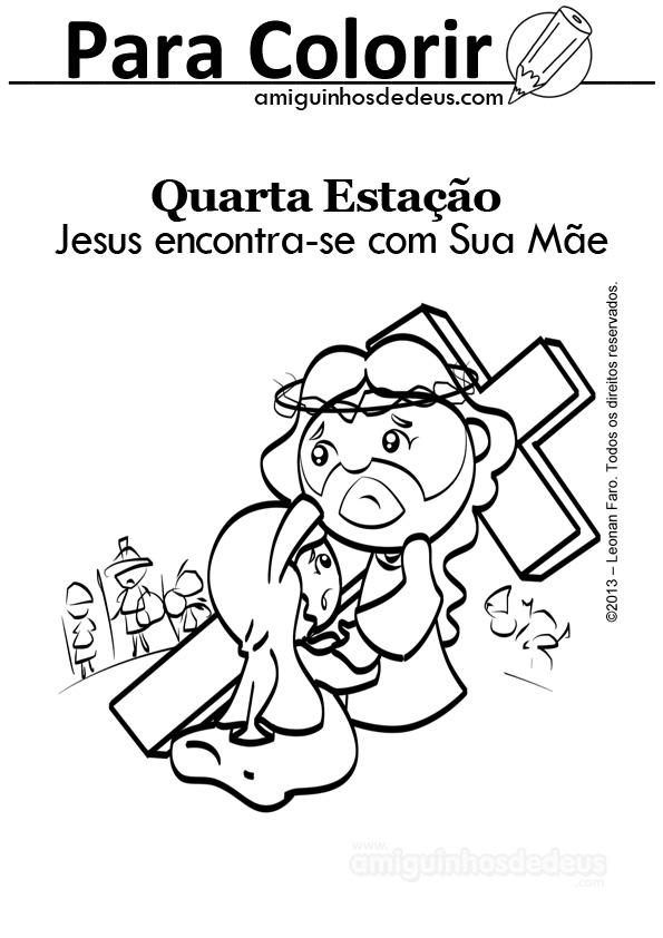Via Sacra IV Estação - Jesus encontra-se com Sua Mãe desenho