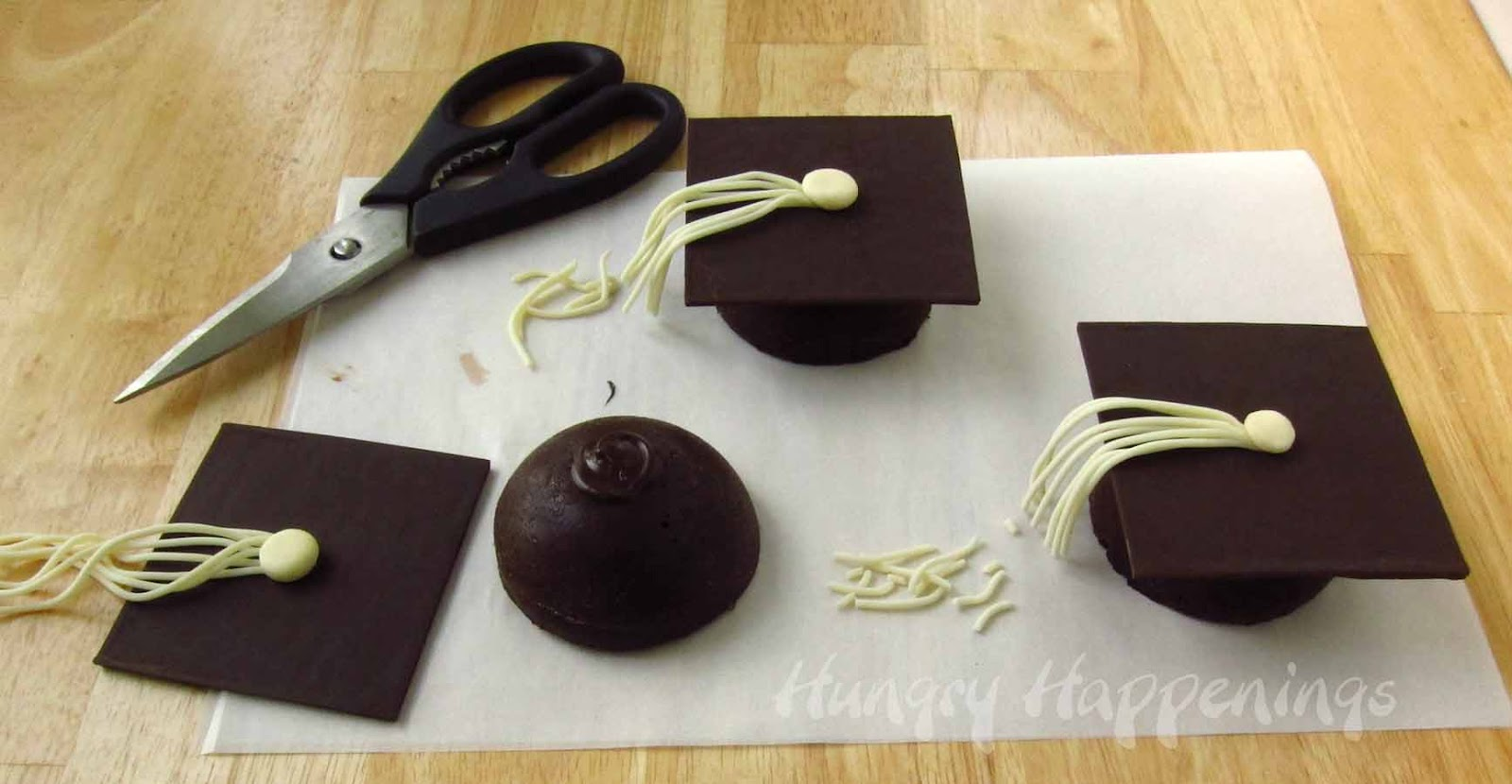 Luscious And Creamy Flourless Chocolate Cake Graduation Caps