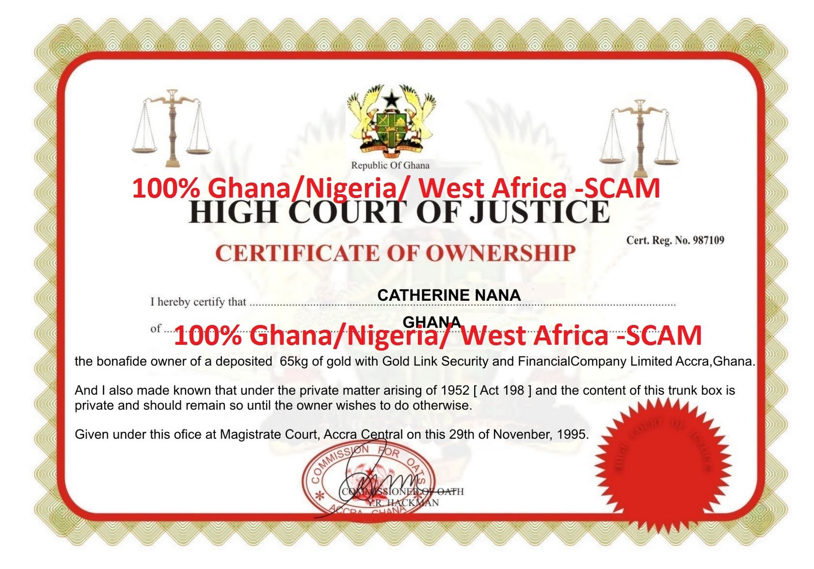 Accra Ghana Scammers http://ghanadatingscam.blogspot.com/2011/08/dating-gold-scam-is-not-game-for-you.html