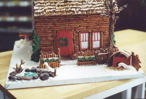 gingerbread log cabins