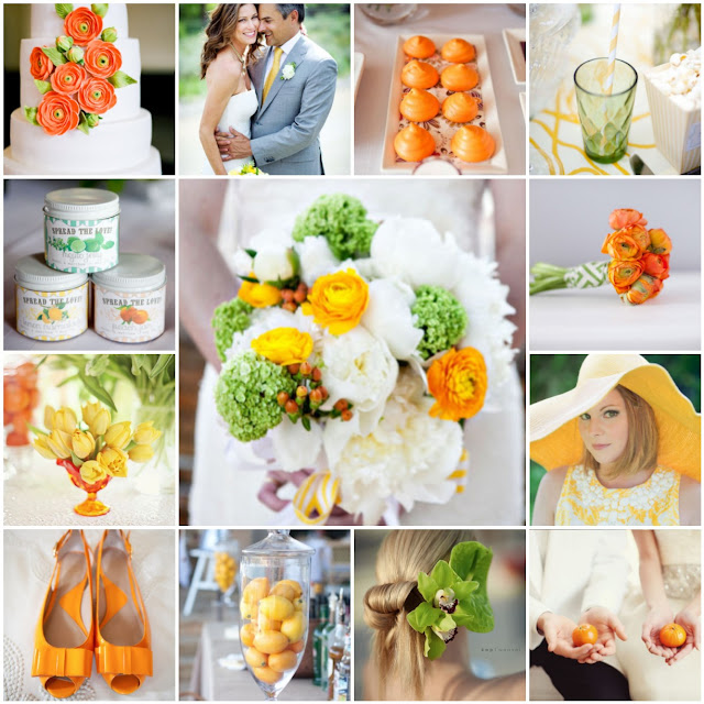 green yellow orange wedding