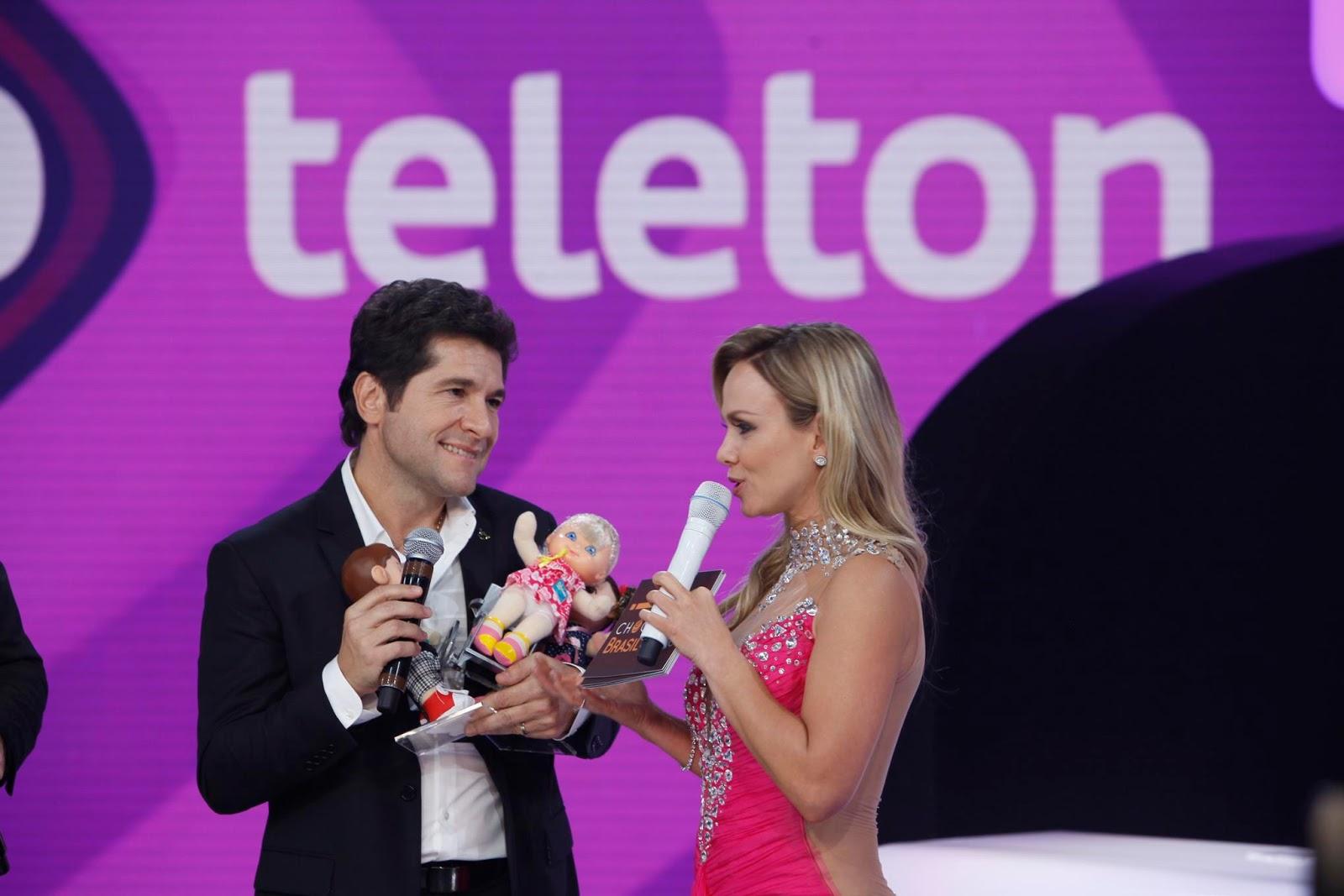Daniel e Eliana no Teleton 2014 (Crédito: Lourival Ribeiro/SBT)
