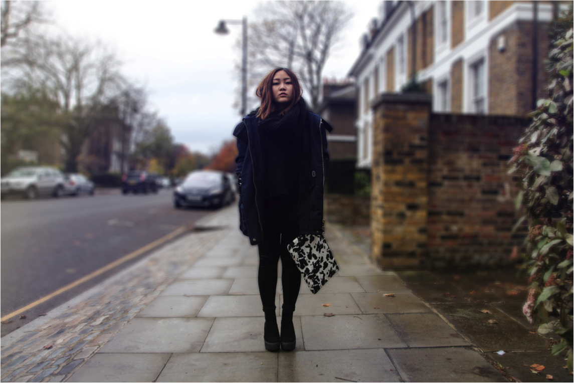 asos parka jacket in epique winter outfit and h&m cow print clutch bag