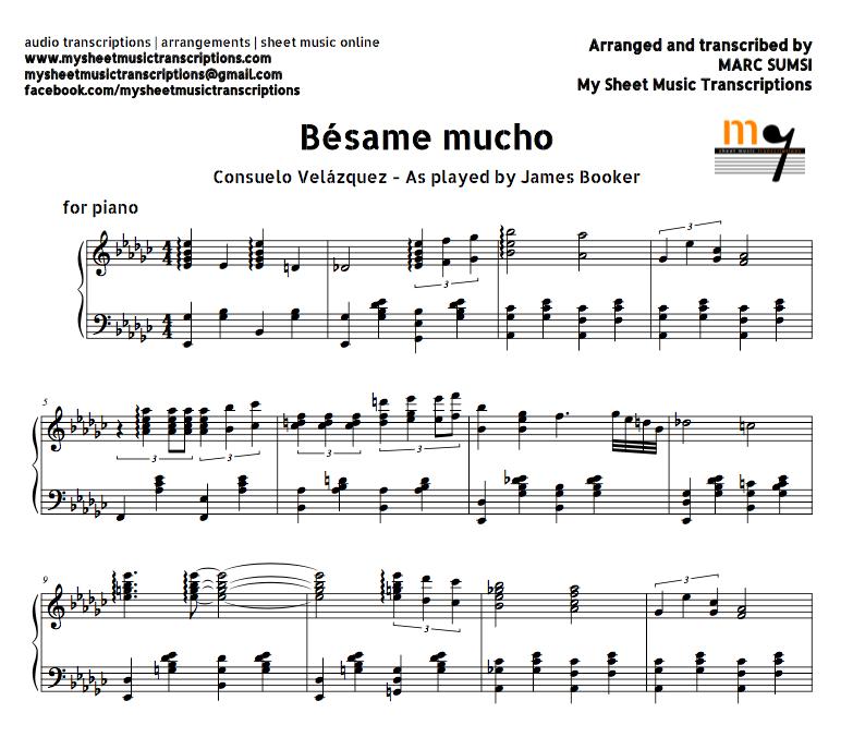 Piano Sheet Music Midi: Bésame Mucho (Consuelo Velázquez) Sheet Music And Midi File