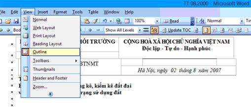 Cách tạo mục lục tự động trong Word