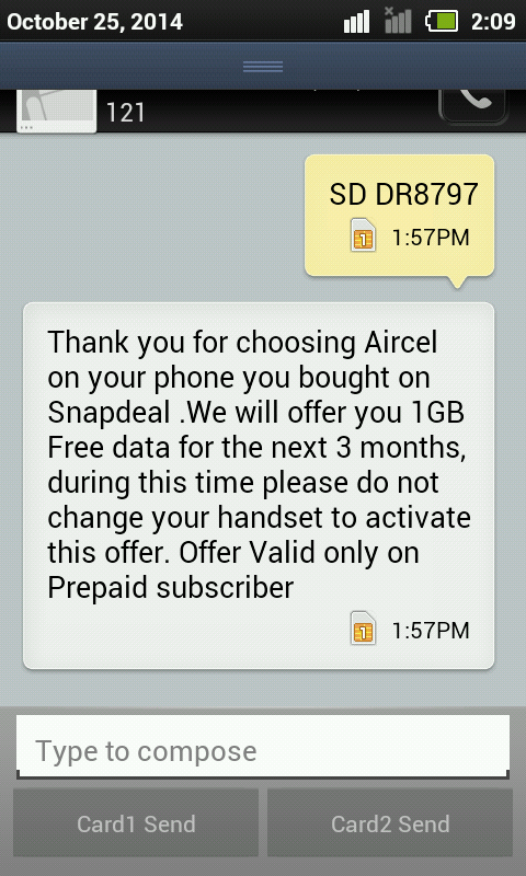 aircel snapdeal 3G data offer
