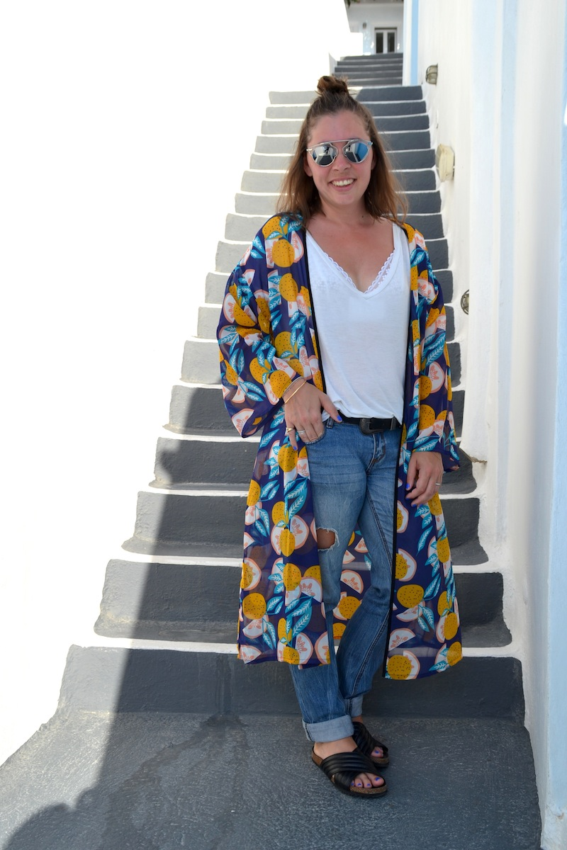 collection capsule Kimono Pimkie x Cocorrina, l'usine à lunettes, sandales Holden like Isabel Marant, jean boyfriend