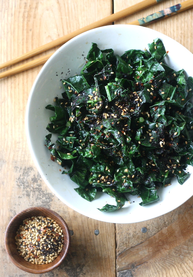 Stir Fried Kale with Japanese Sesame Seasoning by SeasonWithSpice.com